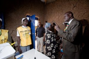 Peter Adwok Nyaba votes in referendum 9th of jan 2011