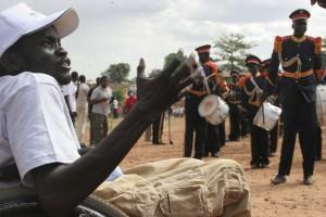 Daniel Deng leads a protest march in Juba, Sudan.  Photo  Arne Doornebal