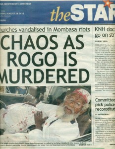 The story as reported by the Star on the 27th of August. Father of Rogo holds his son after he had been shot